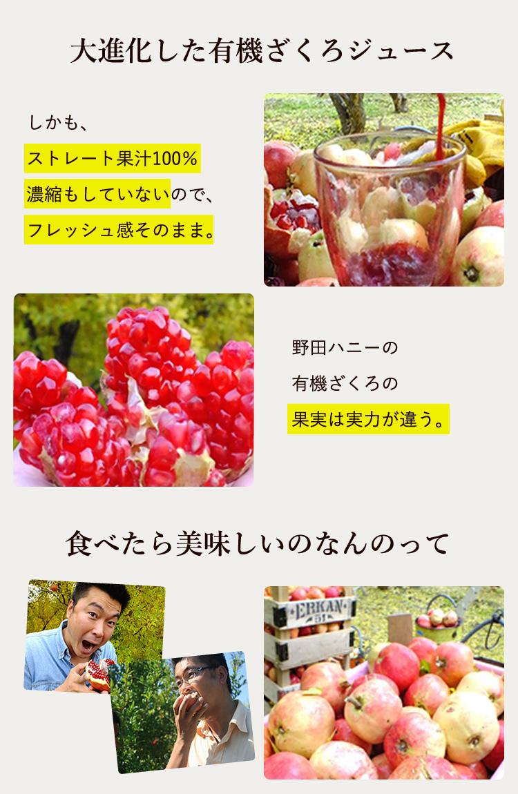 大進化した有機ざくろジュースは、フレッシュ感がたっぷりなストレート果汁100%。