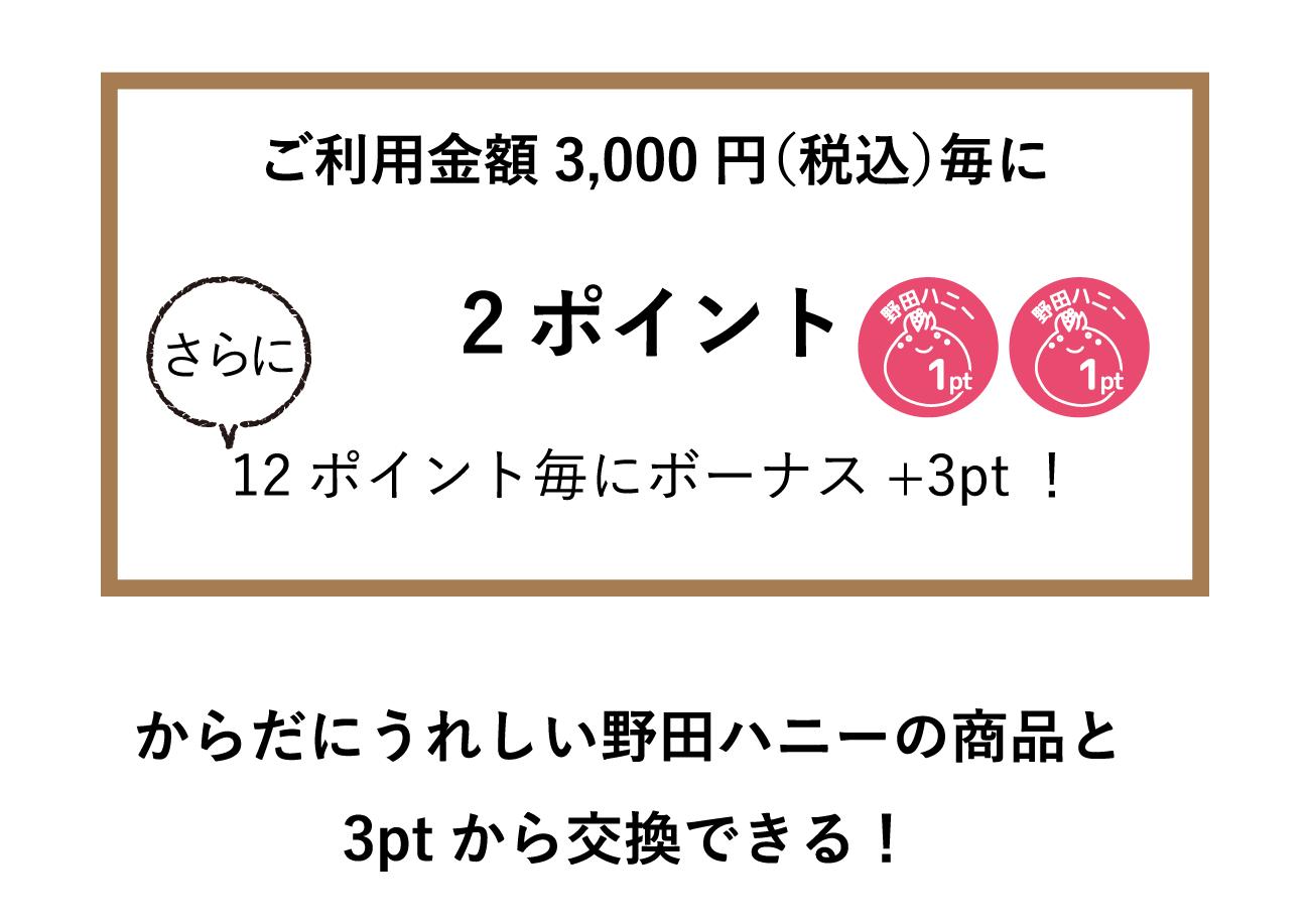 野田ハニーの商品と3ポイントから交換できる